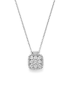 "Frederic Sage - 18K White Gold Diamond Firenze Medium Cushion Pendant Necklace, 18"""
