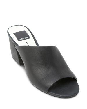 Dolce Vita Women's Juels Leather Block Heel Slide Sandals 2735974