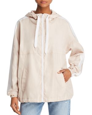 KENDALL AND KYLIE Stripe Hooded Jacket in Blush