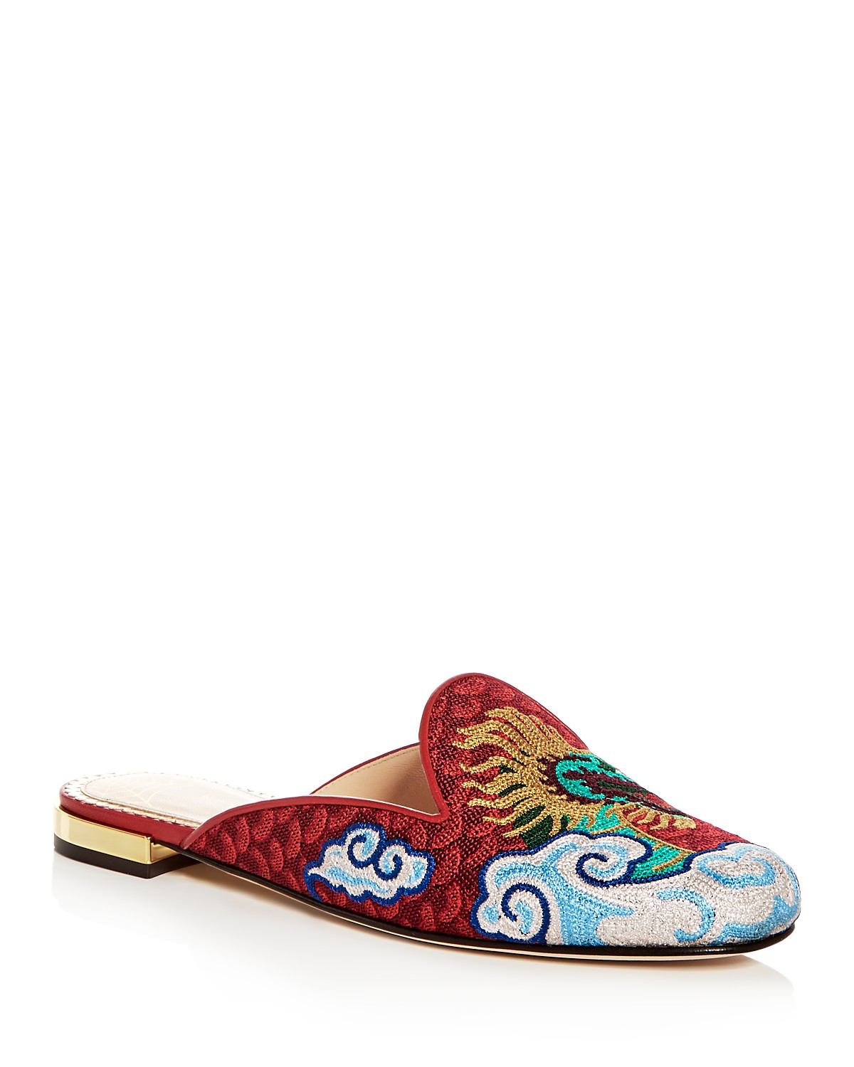 Charlotte Olympia Women's Dragon Embroidered Mules