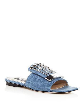 Sergio Rossi - Women's Studded Denim Slide Sandals