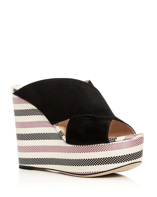 Sergio Rossi Women's Alma Suede Wedge Platform Slide Sandals - 100% Exclusive D49IvA3