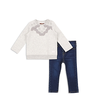 7 For All Mankind Girls Embroidered Sweatshirt  Skinny Jeans Set  Baby