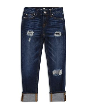 7 For All Mankind Girls' Distressed & Cuffed Dark-Wash Jeans - Big Kid 2792615