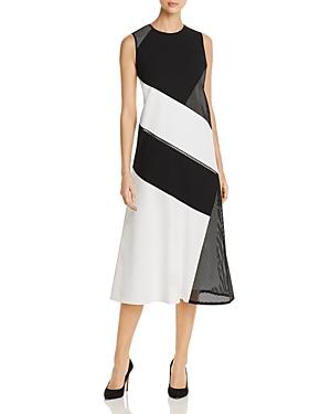 Lafayette 148 New York Nuri Laser-Cut Color-Block Midi Dress