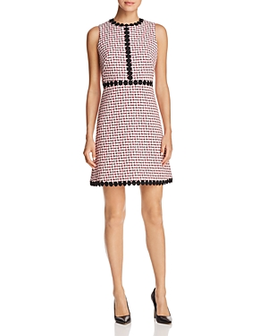 kate spade new york Lace-Trimmed Tweed Fit-and-Flare Dress