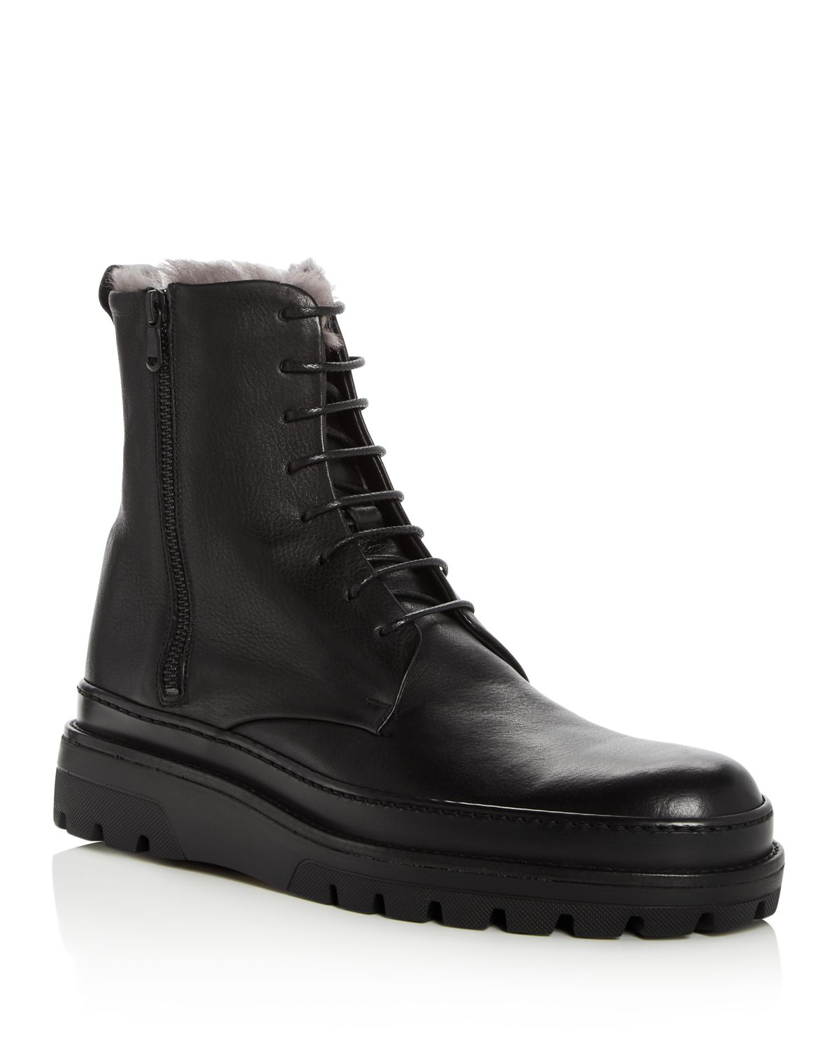 VinceMen's Edgar Leather & Shearling Lace Up Boots