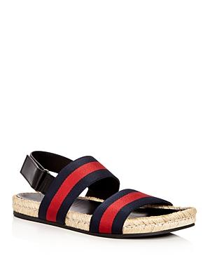 d5fb35756c46 Gucci Web Stripe Jute Sandals In Black In Blue