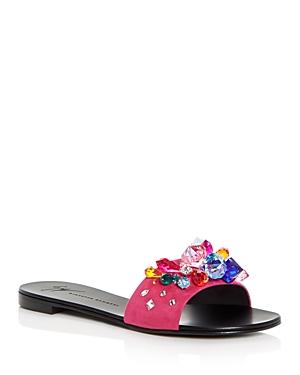 Giuseppe Zanotti Women's Embellished Suede Slide Sandals