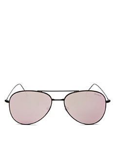 Illesteva - Women's Wooster Mirrored Brow Bar Aviator Sunglasses, 58mm