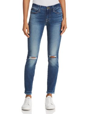 Frame Le Skinny De Jeanne Double Raw-Edge Jeans in Lambeth - 100% Exclusive