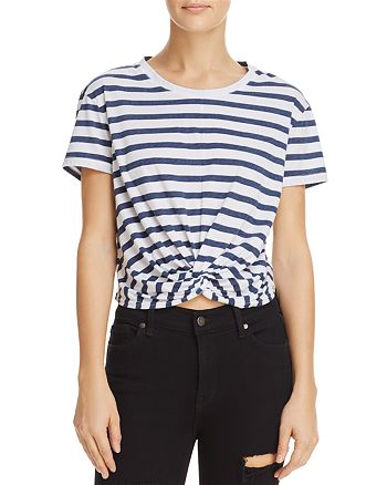 Splendid - Striped Twist-Front Cropped Tee