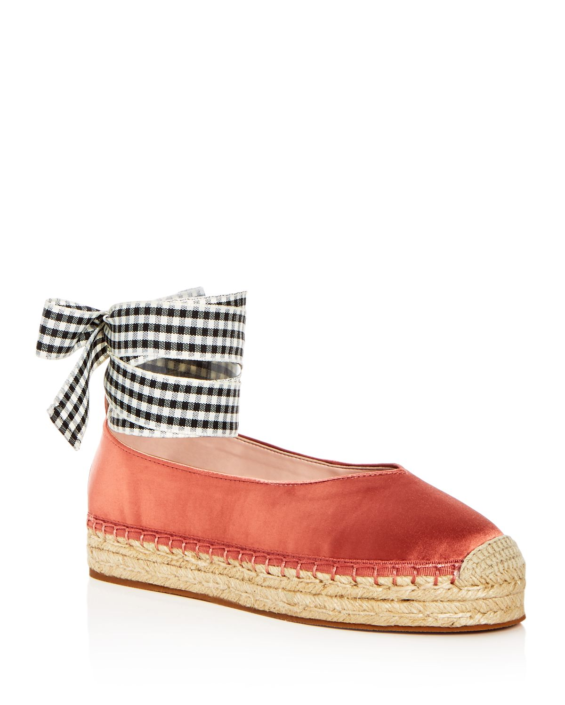 AVEC LES FILLES Women's Georgie Satin Ankle Tie Platform Espadrille Flats