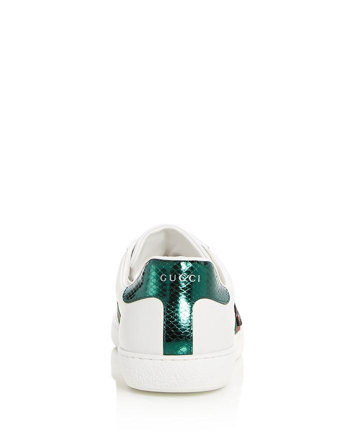 27dd9fd3af3f Gucci - Men s Embellished Snake Leather Lace Up Sneakers Product Description
