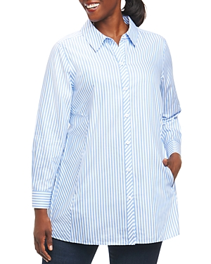 Foxcroft Plus Long-Sleeve Stripe Tunic Blouse