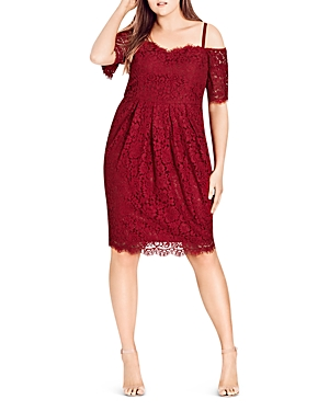 City Chic CITY CHIC AMOUR OFF-THE-SHOULDER LACE DRESS