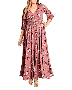 City Chic Rose-Print Maxi Dress