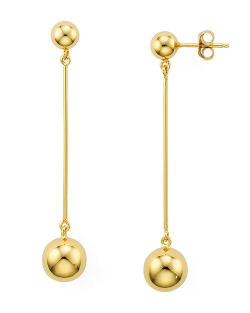 AQUA - Sterling Silver Double Ball Bar Drop Earrings - 100% Exclusive