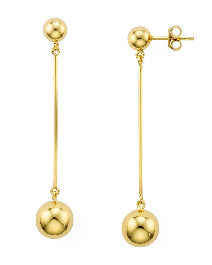 AQUA - Sterling Silver Double Ball Bar Drop Earrings - 100% Exclusive