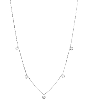 Sterling Silver Thin Chain Circle Drop Necklace