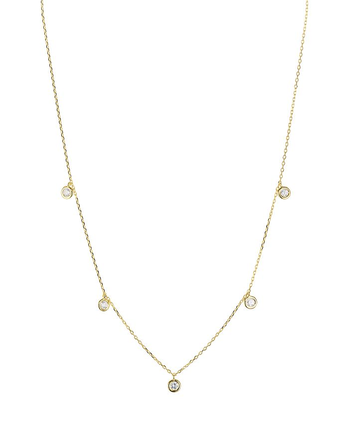 "AQUA - Sterling Silver Thin Chain Circle Drop Necklace, 16"" - 100% Exclusive"