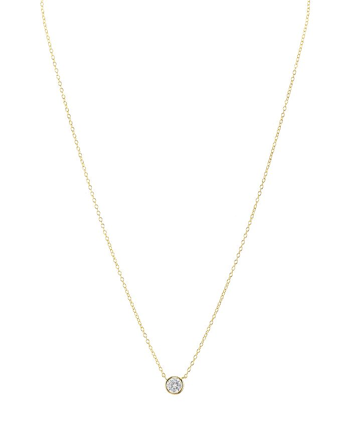 """AQUA - Sterling Silver Small Circle Pendant Necklace, 16"""" - 100% Exclusive"""