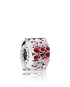 PANDORA Sterling Silver & Enamel Burst of Love Heart Clip - Bloomingdale's_0
