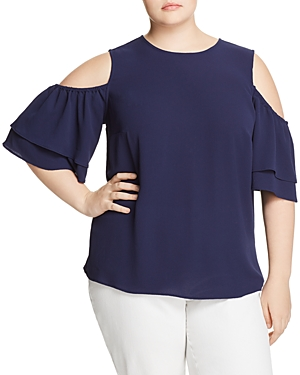 Michael Michael Kors Plus  COLD-SHOULDER FLOUNCE TOP
