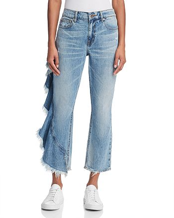 Pistola - Lennon Side-Ruffle Frayed Jeans in Take A Chance - 100% Exclusive