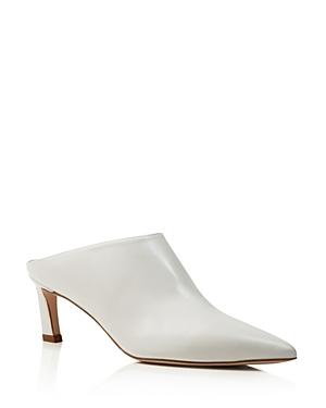 Stuart Weitzman Women's Mira Leather Pointed Toe High Heel Mules