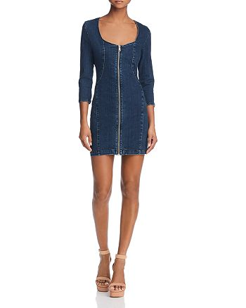 GUESS - Zip-Front Body-Con Denim Dress