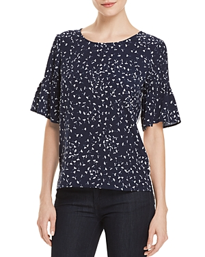 French Connection Komo Two-Tone Pin-Tuck Sleeve Top