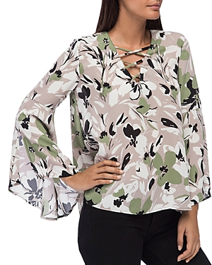 B Collection by Bobeau Dawn Floral-Print Bell-Sleeve Blouse
