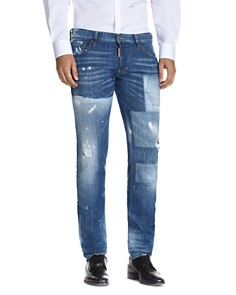 DSQUARED2 Patch Faded Slim Fit Jeans in Blue - Bloomingdale's_0