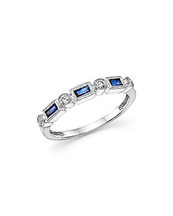 Bloomingdale's - Blue Sapphire & Diamond Band Ring in 14K White Gold - 100% Exclusive