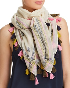Tory Burch - Embroidered Oversized Square Scarf