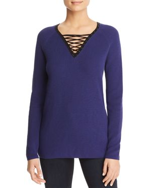 NIC AND ZOE PLUS Nic+Zoe Plus A Little Edge Lace-Up Sweater in Electric Blue