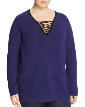 Nic+Zoe Plus A Little Edge Lace-Up Sweater