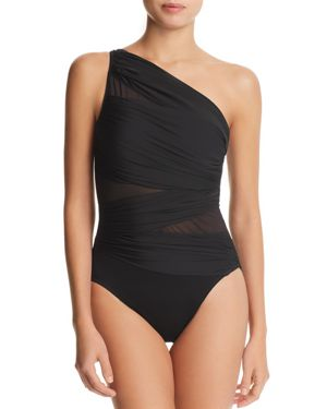 MIRACLESUIT Network Jena One-Shoulder Allover Slimming One-Piece Women'S Swimsuit in Black