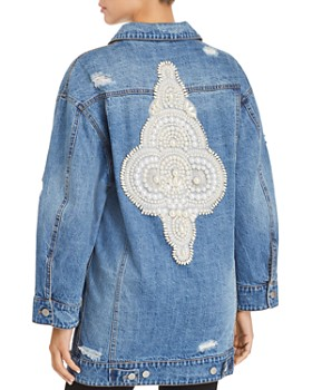 Avec Les Filles - Embellished Distressed Denim Jacket - 100% Exclusive