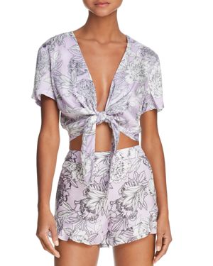 Bardot Tie-Front Floral Print Cropped Top