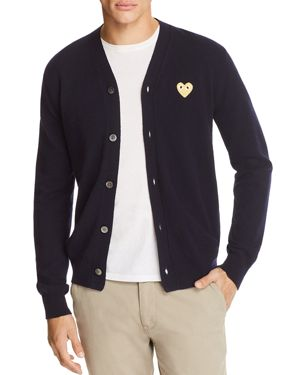 Comme Des Garcons Play Gold Heart Cardigan Sweater
