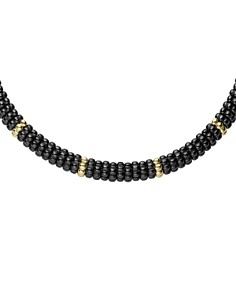 LAGOS - Gold & Black Caviar Collection 18K Gold & Ceramic Twelve Station Collar Necklace, 16""
