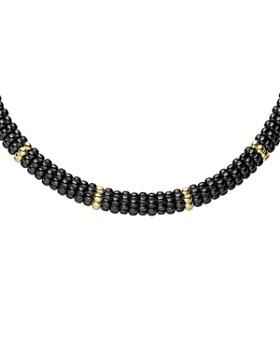 "LAGOS - Gold & Black Caviar Collection 18K Gold & Ceramic Twelve Station Collar Necklace, 16"""