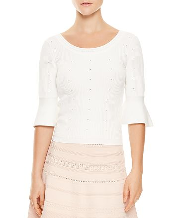 Sandro Nuala Eyelet Detail Flared Cuff Sweater Bloomingdale S