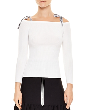 Sandro Rayann Off-the-Shoulder Graphic-Strap Sweater