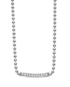 LAGOS - Sterling Silver Caviar Spark Diamond Bar & Ball Chain Necklace, 16""