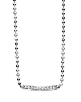 "LAGOS - Sterling Silver Caviar Spark Diamond Bar & Ball Chain Necklace, 16"""