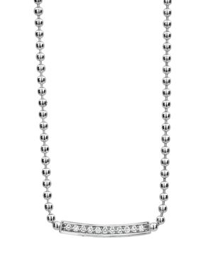 Lagos Sterling Silver Caviar Spark Diamond Bar & Ball Chain Necklace, 16