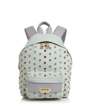 EARTHA SMALL DENIM AND LEATHER BACKPACK